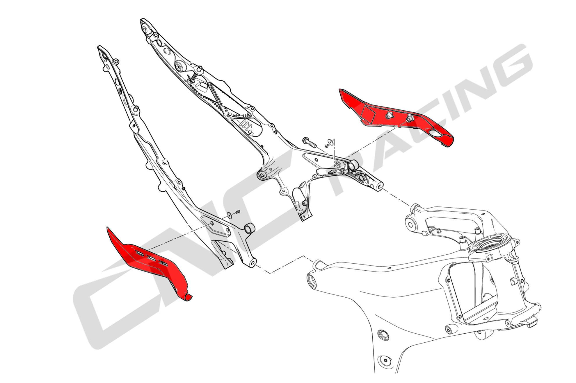 Rear Subframe Covers Ducati Panigale V4 Matt Carbon Cnc Racing