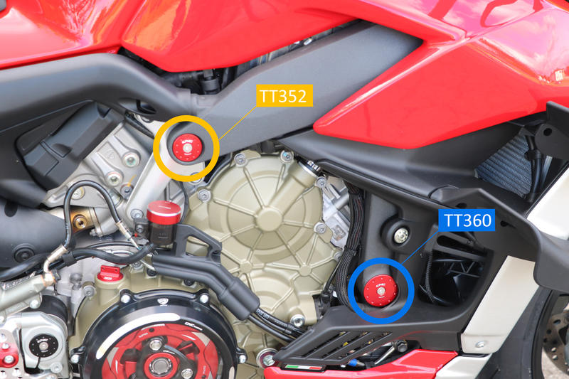 Frame caps set Ducati Streetfighter V4 - Larger holes